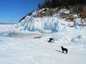 Conor hauls up a steep pitch of ice on the Lake Superior Coast!